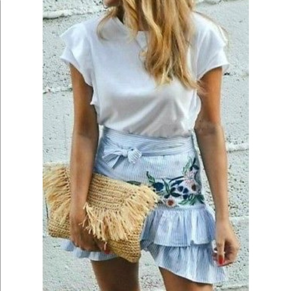 c9a3d33884 Zara Skirts   Striped Floral Embroidered Ruffle Wrap Skirt   Poshmark